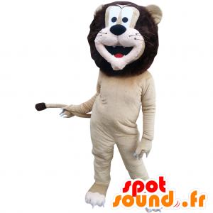μπεζ και καφέ μασκότ λιοντάρι με μια όμορφη χαίτη - MASFR032871 - Λιοντάρι μασκότ