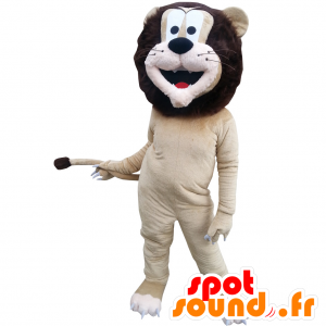 Beige and brown lion mascot with a beautiful mane - MASFR032871 - Lion mascots