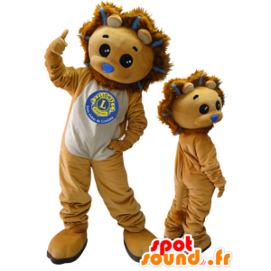 2 mascots. lion mascots and brown cub - MASFR032872 - Lion mascots
