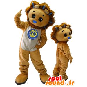 2 mascottes. leeuw mascottes en bruine welp - MASFR032872 - Lion Mascottes