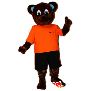 Of brown bear mascot orange and black outfit - MASFR032878 - Bear mascot
