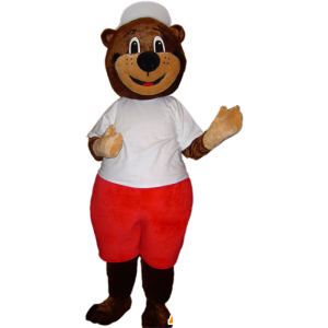Of brown bear mascot in red and white outfit - MASFR032879 - Bear mascot