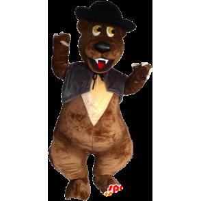 Karhun maskotti kanssa liivi ja hattu - MASFR032880 - Bear Mascot