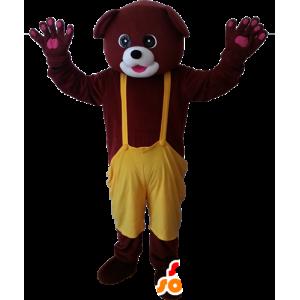 Mascotte orso di marrone con una tuta gialla - MASFR032881 - Mascotte orso