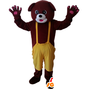Of brown bear mascot with a yellow overalls - MASFR032881 - Bear mascot