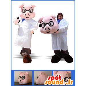 Mascotte de cochon habillé en infirmier, en médecin - MASFR032886 - Mascottes Cochon