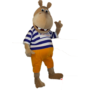 Of brown hippo mascot sailor - MASFR032896 - Mascots hippopotamus