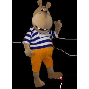 Brun flodhestmaskot i stribet sweater - Spotsound maskot