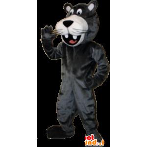 Mascotte de panthère géante noire souriante - MASFR032897 - Animaux de la jungle