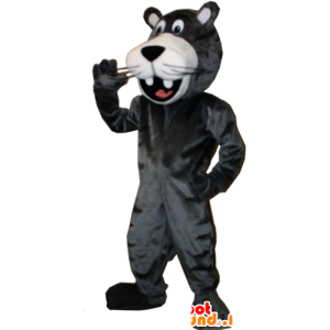 Maskotka uśmiecha gigantyczną czarną panterę - MASFR032897 - Jungle zwierzęta