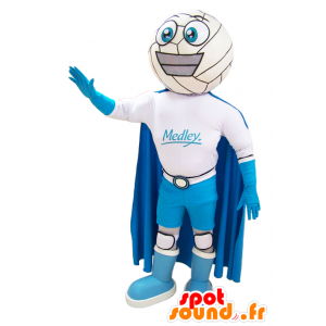Snowman mascot smiling with a suit and a cape - MASFR032900 - Human mascots