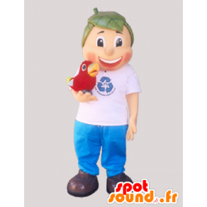 Boy mascot with hair shaped leaves - MASFR032905 - Mascots of plants