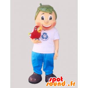 Mascotte de garçon avec des cheveux en forme de feuilles - MASFR032905 - Mascottes de plantes