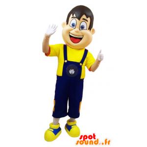 Man Maskottchen in blauen Overalls und gelben T-Shirt - MASFR032906 - Menschliche Maskottchen