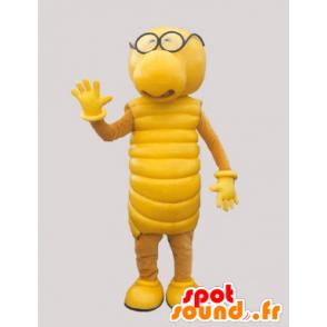 Mascot gul larve. Gul væsen maskot. - Spotsound maskot