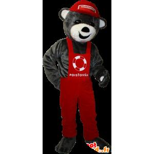 Gray teddy mascot overalls and red cap - MASFR032910 - Bear mascot