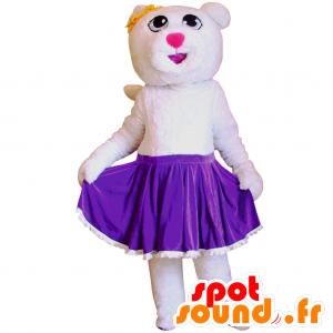 Vit björnmaskot i lila kjol - Spotsound maskot