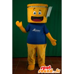 Yellow snowman mascot and blue shirt, cheerful - MASFR032913 - Human mascots