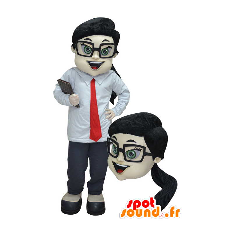 Woman mascot, trade in suit and tie - MASFR032916 - Mascots woman