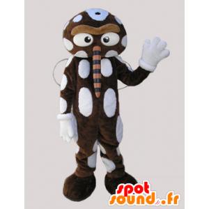 Mascot braun und weiß Insekt mit einer großen Nase - MASFR032920 - Maskottchen Insekt