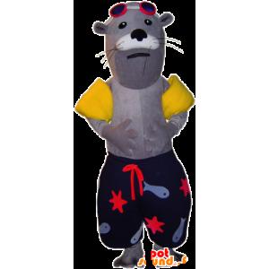 Mascote selo, vestuário natação em leão mar
