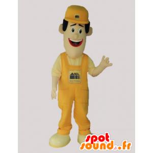 Mascotte uomo in tuta e berretto giallo - MASFR032923 - Umani mascotte
