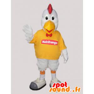 Weißer Hahn-Maskottchen. Maskottchen Huhn - MASFR032931 - Maskottchen der Hennen huhn Hahn