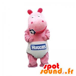 Mascotte de bébé hippopotame rose avec une couche - MASFR032934 - Mascottes Hippopotame