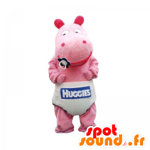 Baby pink hippo mascot with a layer - MASFR032934 - Mascots hippopotamus