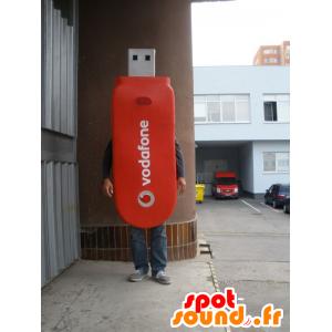 USB maskotti punainen jättiläinen. USB Costume - MASFR032935 - Mascottes d'objets