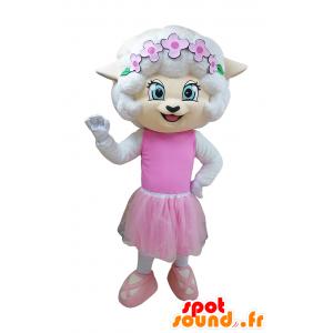 Bílá myš maskot tanečnice outfit - MASFR032938 - myš Maskot