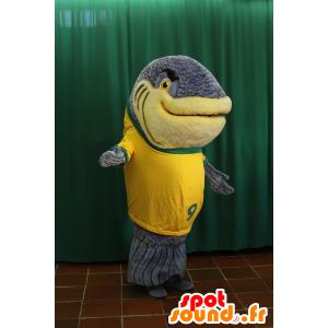 Realistic gray giant fish mascot - MASFR032942 - Mascots fish
