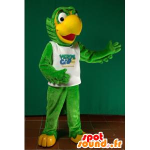 Mascotte de gros perroquet vert et jaune - MASFR032945 - Mascottes de perroquets