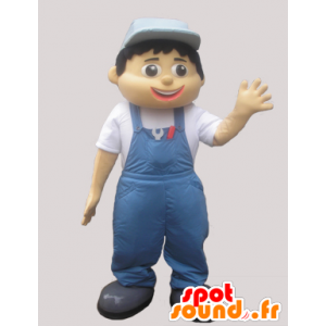 Mascot man in overalls and blue caps - MASFR032951 - Human mascots
