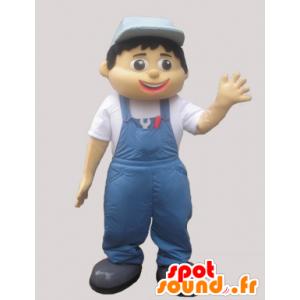 Maskotka mężczyzna w kombinezonie i niebieskie czapki - MASFR032951 - Mężczyzna Maskotki