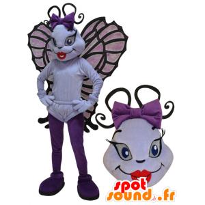 Mascotte insetto volante, bianco e la farfalla viola