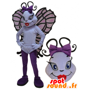Mascot vliegend insect, witte en paarse vlinder