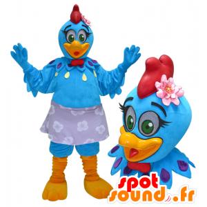 Mascota de gallina, gallo azul y amarillo con una cresta roja - MASFR032959 - Mascota de gallinas pollo gallo