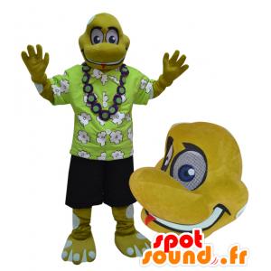 Mascotte de tortue, de reptile jaune en tenue de vacancier - MASFR032962 - Mascottes Tortue