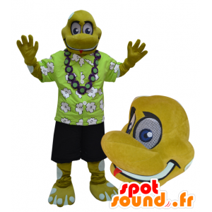 Mascot turtle, yellow reptile vacationer held - MASFR032962 - Mascots turtle