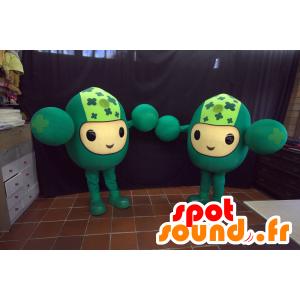 2 Maskottchen aller grünen Männer, lustig - MASFR032966 - Menschliche Maskottchen