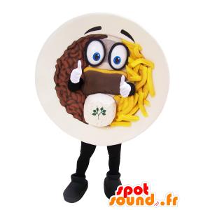 Mascotte d'assiette garnie steak frites - MASFR032967 - Mascottes Fast-Food