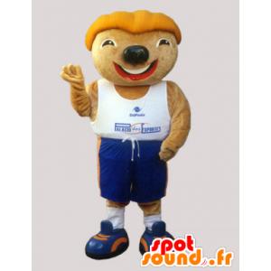Mascotte de rongeur avec une tête rigolote en tenue de sport - MASFR032969 - Mascotte sportives