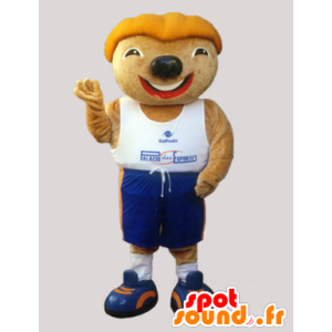 Knaagdier mascotte met een grappig hoofd in sportkleding - MASFR032969 - sporten mascotte