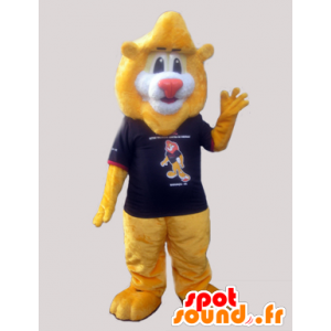 Large lion mascot soft yellow with a t-shirt - MASFR032972 - Lion mascots