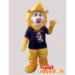 Atacado leão amarelo da mascote com uma camisa macia - MASFR032972 - Mascotes leão