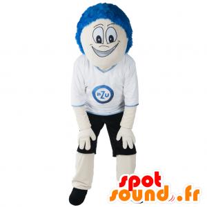Mascota del muñeco de nieve con el pelo azul y en ropa deportiva - MASFR032977 - Mascota de deportes