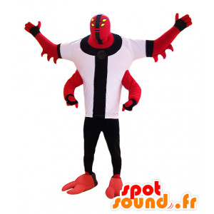 Creatura mascotte, mostro rosso con quattro braccia - MASFR032978 - Mascotte di mostri