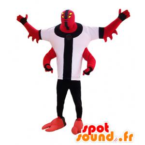 Mascotte de créature, de monstre rouge avec quatre bras - MASFR032978 - Mascottes de monstres