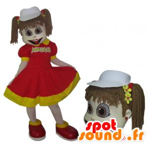 Mascot van meisje in rode en gele jurk met quilts - MASFR032979 - Mascottes Boys and Girls